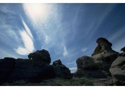蓝天白云与高原风景