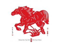 红色骏马剪纸画