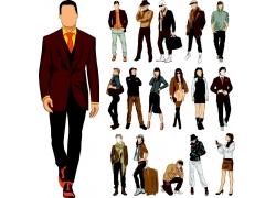 时尚男人与时尚美女插画图片