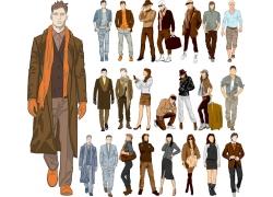 时尚美女与时尚男人插画图片