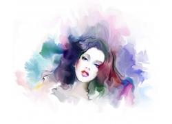 时尚女孩水彩插画图片