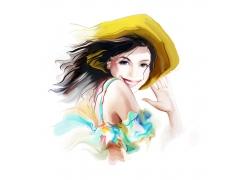 戴帽子的卡通美女水彩画