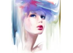 时尚美女水彩插画图片
