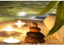 波纹与蜡烛石头