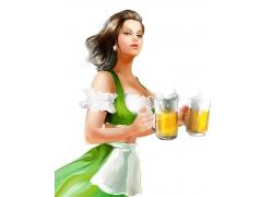 端着啤酒的卡通美女
