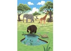 卡通大象熊与长颈鹿图片