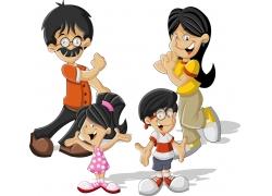卡通夫妇与卡通儿童图片