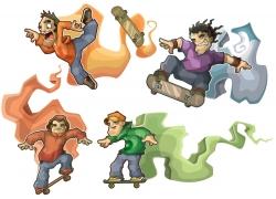 滑板人物插画图片