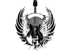 带翅膀的吉他素材