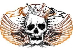 带皇冠翅膀的骷髅头