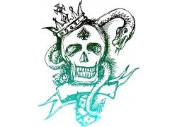 蛇与骷髅头设计