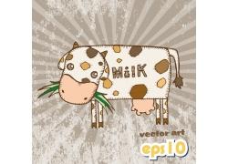 吃草的卡通奶牛图片