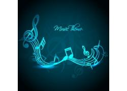 蓝色背景下的音乐符号