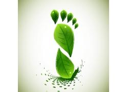 矢量绿叶脚板