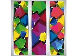 彩色多边形竖幅广告模版