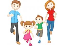 跑步的家庭人物设计图片