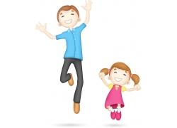 开心跳跃的卡通人物图片