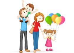 逛街的家庭人物设计图片