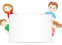 拿展板的家庭人物设计图片