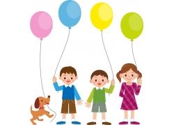 拿气球的儿童图片