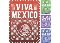 墨西哥花纹花边背景