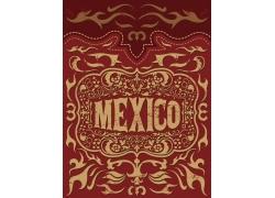红色花纹墨西哥背景