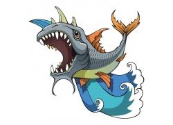 矢量鱼浪花素材图片