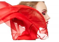 性感美女红绸