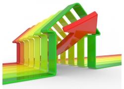 彩色房子框架内的箭头
