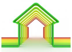 彩色立体房子框架