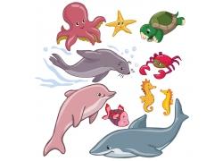 卡通海底动物图片