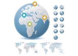 矢量地球与世界地图图片