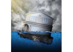 水面上漂浮的房子