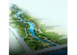 江边建筑效果图