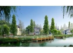 现代公园建筑效果图