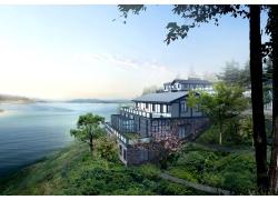海边别墅建筑效果图