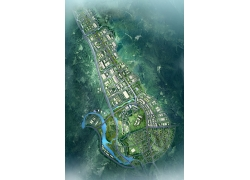 城市分布建筑俯瞰图