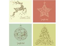圣诞鹿与吊球背景