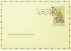 圣诞树邮票信封