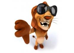 戴墨镜的3D卡通狮子