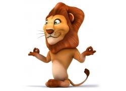 练瑜伽的3D卡通狮子