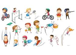 做体育运动的儿童卡通画图片