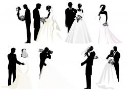 新郎新娘人物剪影