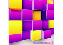 黄紫色立体方块背景