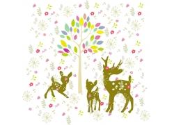 矢量卡通小鹿背景图案图片