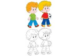 微笑的儿童和拿着球的儿童卡通画图片