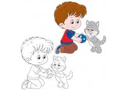 和狗玩耍的男孩卡通画图片