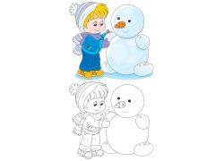 堆雪人的可爱男孩卡通画图片