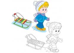 拉着雪橇的男孩卡通画图片