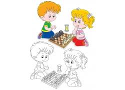 下国际象棋的儿童卡通画图片